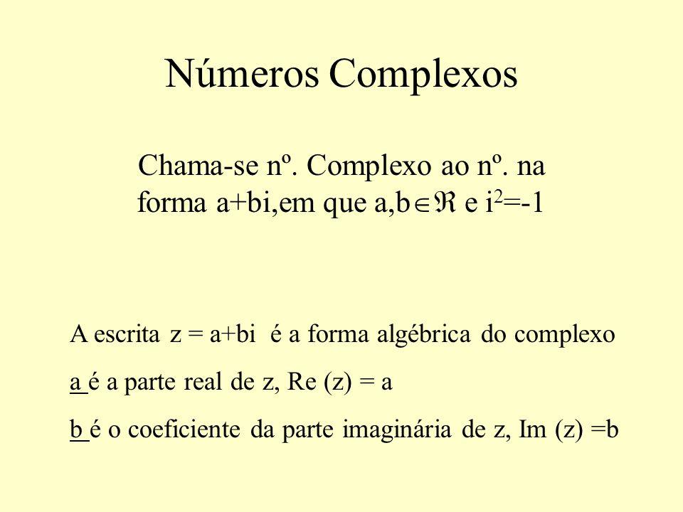 Números Complexos Chama-se nº. Complexo ao nº. na forma a+bi,em que a,b e i 2 =-1 A escrita z = a+bi é a forma algébrica do complexo a é a parte real