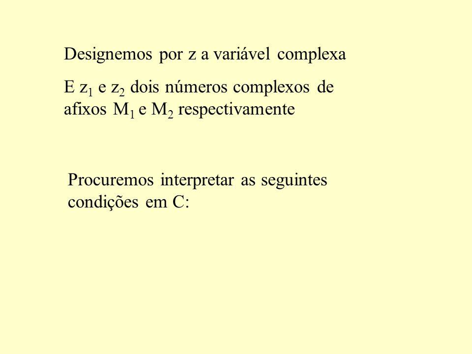 Designemos por z a variável complexa E z 1 e z 2 dois números complexos de afixos M 1 e M 2 respectivamente Procuremos interpretar as seguintes condições em C:
