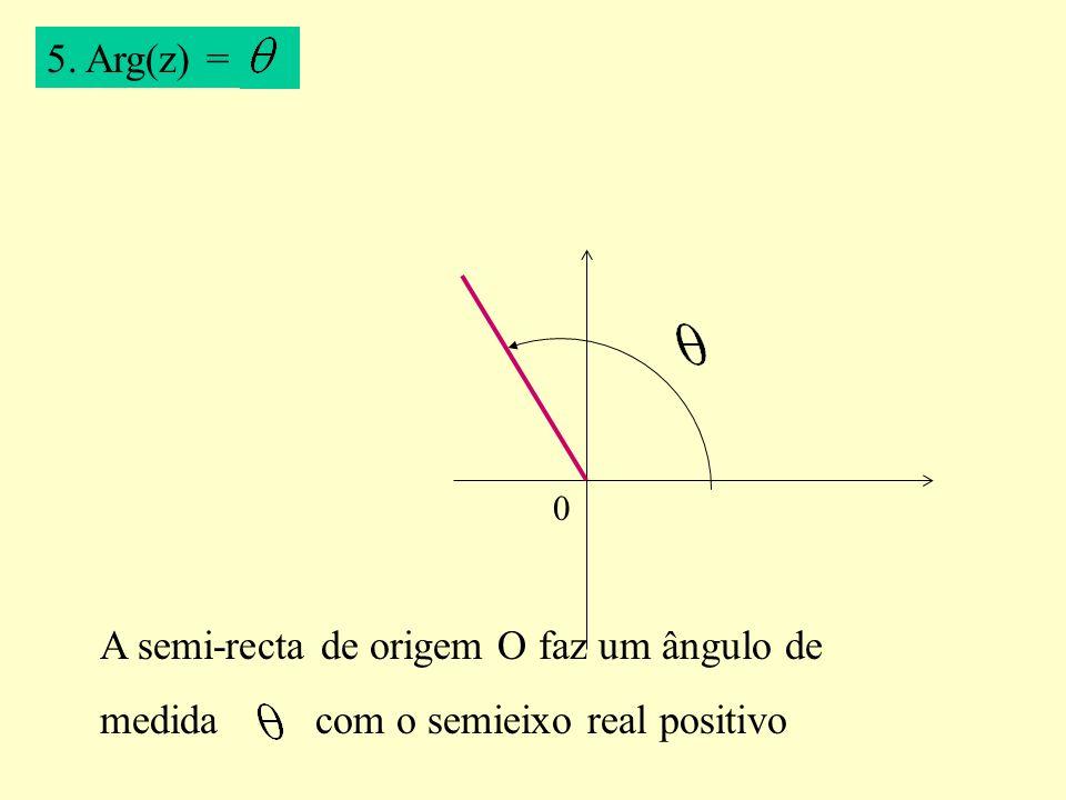 5. Arg(z) = 0 A semi-recta de origem O faz um ângulo de medida com o semieixo real positivo