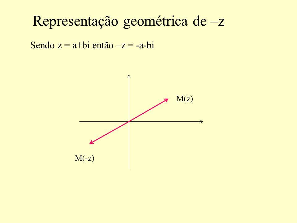 Representação geométrica de –z Sendo z = a+bi então –z = -a-bi M(z) M(-z)