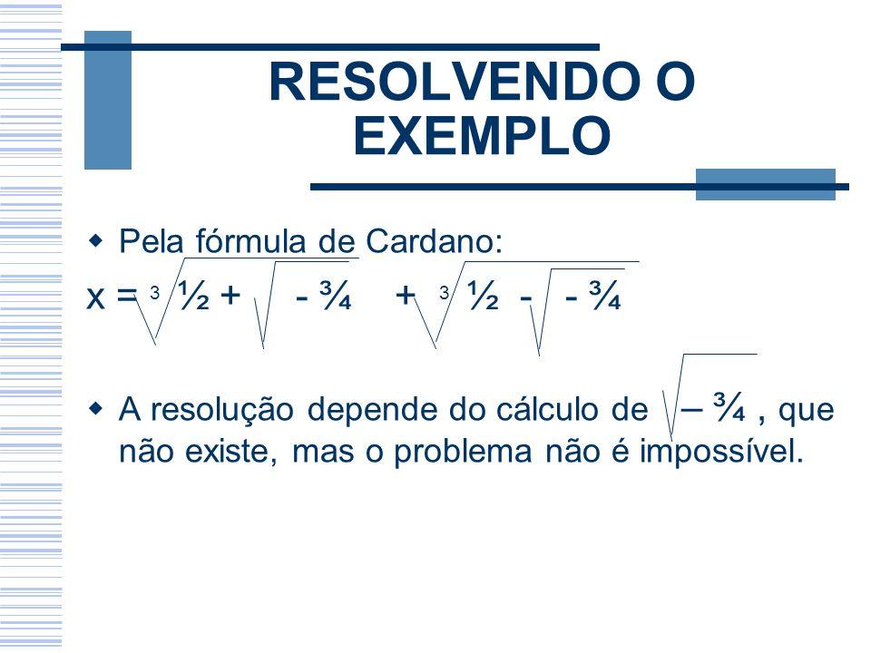 RESOLVENDO O EXEMPLO Pela fórmula de Cardano: x = 3 ½ + - ¾ + 3 ½ - - ¾ A resolução depende do cálculo de – ¾, que não existe, mas o problema não é im