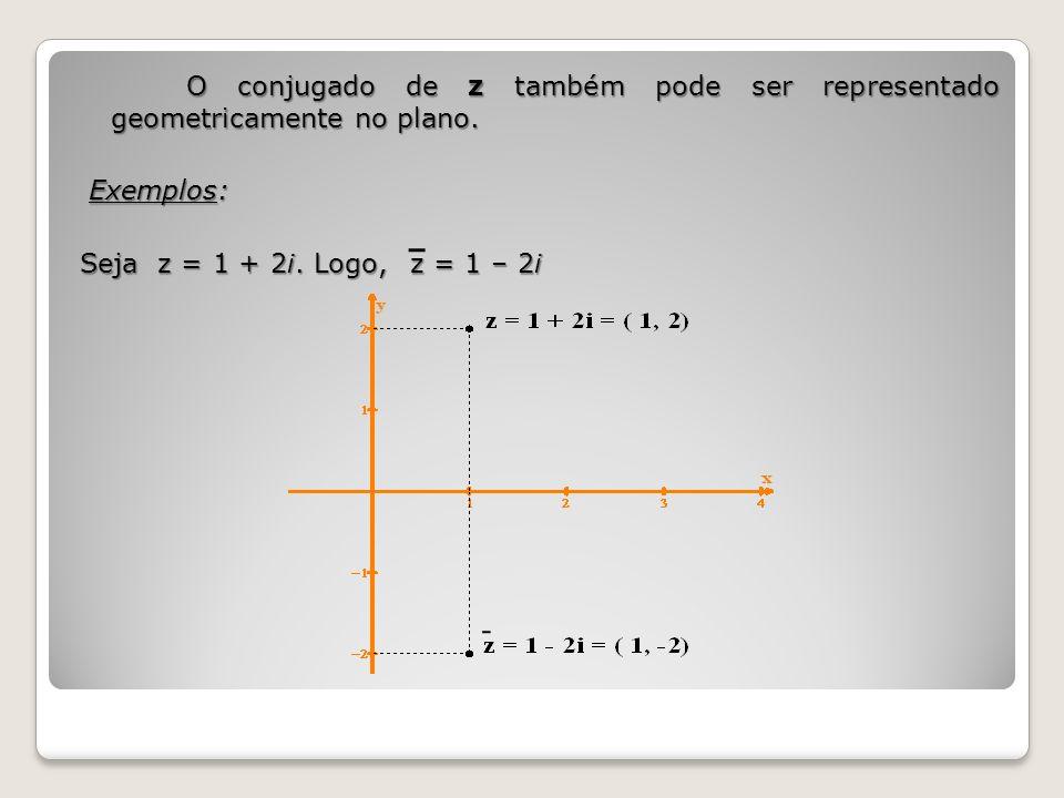 O conjugado de z também pode ser representado geometricamente no plano. Exemplos: Exemplos: Seja z = 1 + 2i. Logo, z = 1 – 2i