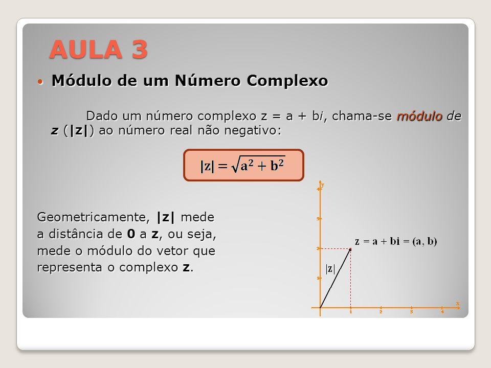 Módulo de um Número Complexo Módulo de um Número Complexo Dado um número complexo z = a + bi, chama-se módulo de z (|z|) ao número real não negativo: