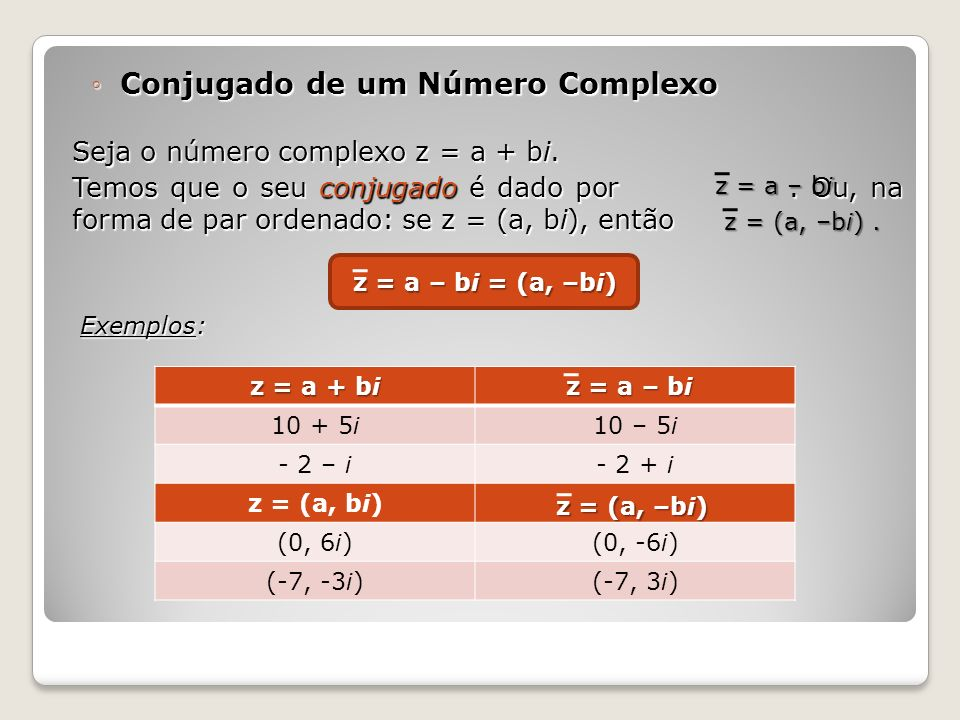 Conjugado de um Número ComplexoConjugado de um Número Complexo Seja o número complexo z = a + bi. Temos que o seu conjugado é dado por. Ou, na forma d