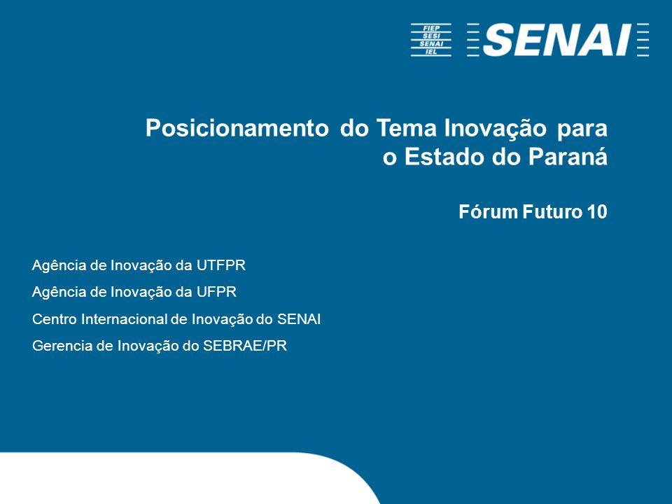 Posicionamento do Tema Inovação para o Estado do Paraná Fórum Futuro 10 Agência de Inovação da UTFPR Agência de Inovação da UFPR Centro Internacional