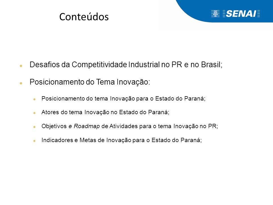 Conteúdos Desafios da Competitividade Industrial no PR e no Brasil; Posicionamento do Tema Inovação: Posicionamento do tema Inovação para o Estado do