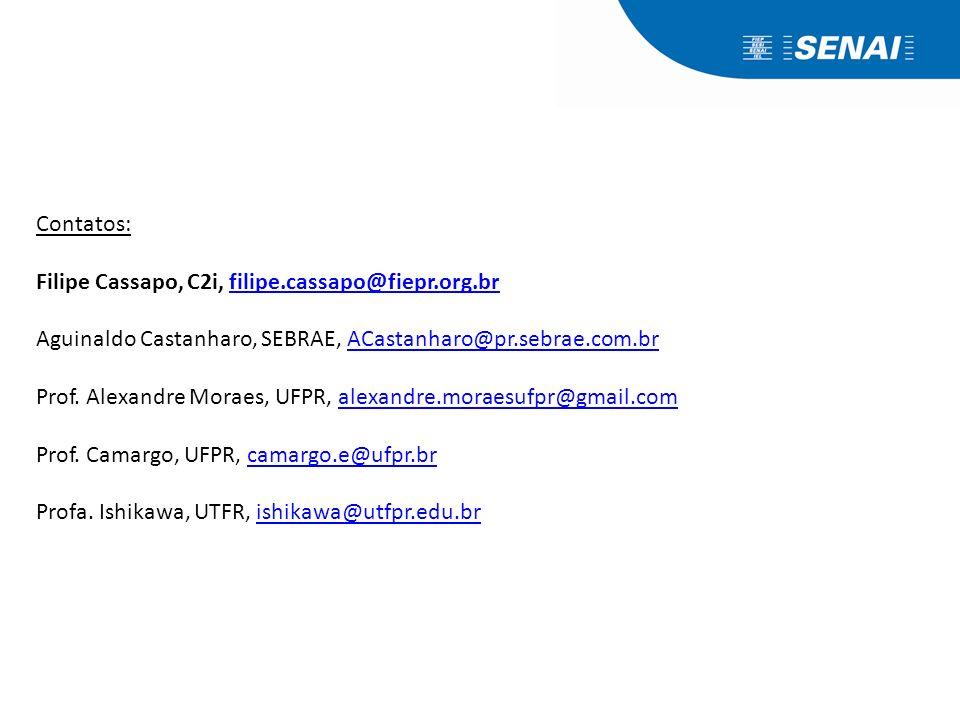 Contatos: Filipe Cassapo, C2i, filipe.cassapo@fiepr.org.brfilipe.cassapo@fiepr.org.br Aguinaldo Castanharo, SEBRAE, ACastanharo@pr.sebrae.com.brACasta