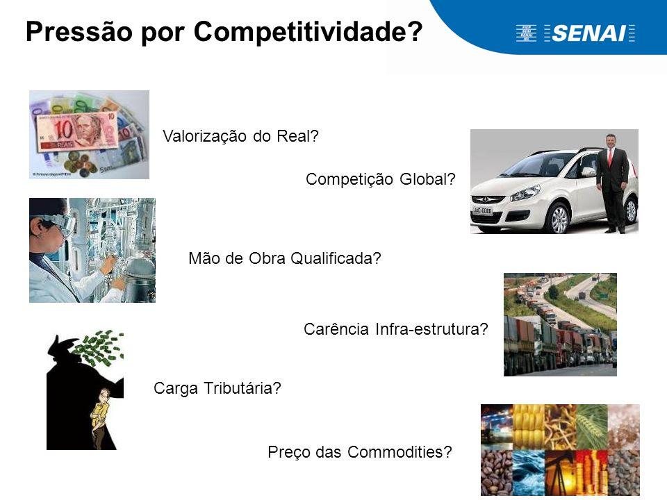 Pressão por Competitividade? Valorização do Real? Competição Global? Mão de Obra Qualificada? Carga Tributária? Carência Infra-estrutura? Preço das Co