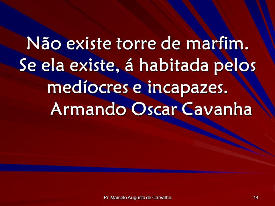 Pr. Marcelo Augusto de Carvalho 14 Não existe torre de marfim. Se ela existe, á habitada pelos medíocres e incapazes. Armando Oscar Cavanha
