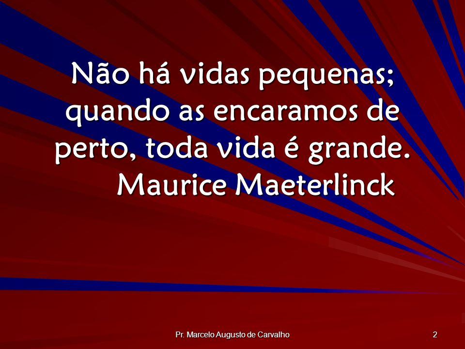 Pr. Marcelo Augusto de Carvalho 2 Não há vidas pequenas; quando as encaramos de perto, toda vida é grande. Maurice Maeterlinck
