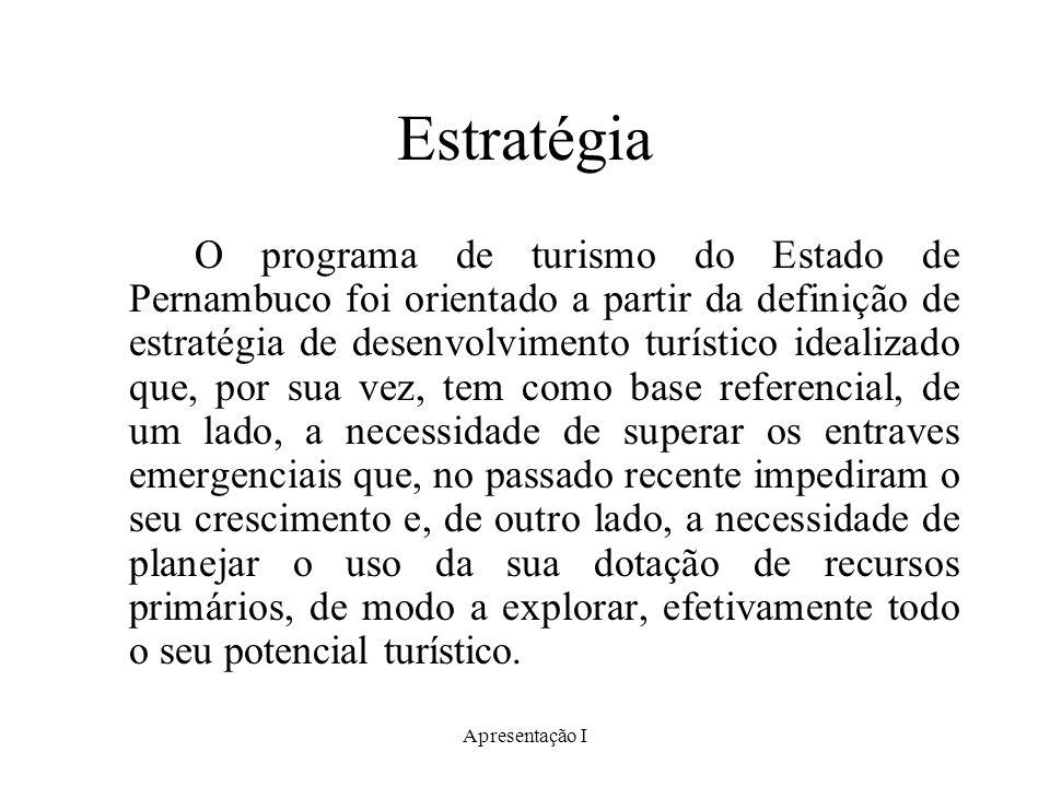 Apresentação I Estratégia O programa de turismo do Estado de Pernambuco foi orientado a partir da definição de estratégia de desenvolvimento turístico