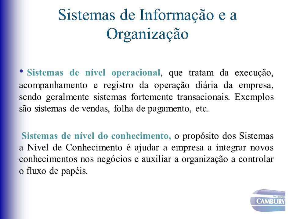 Sistemas de nível operacional, que tratam da execução, acompanhamento e registro da operação diária da empresa, sendo geralmente sistemas fortemente t