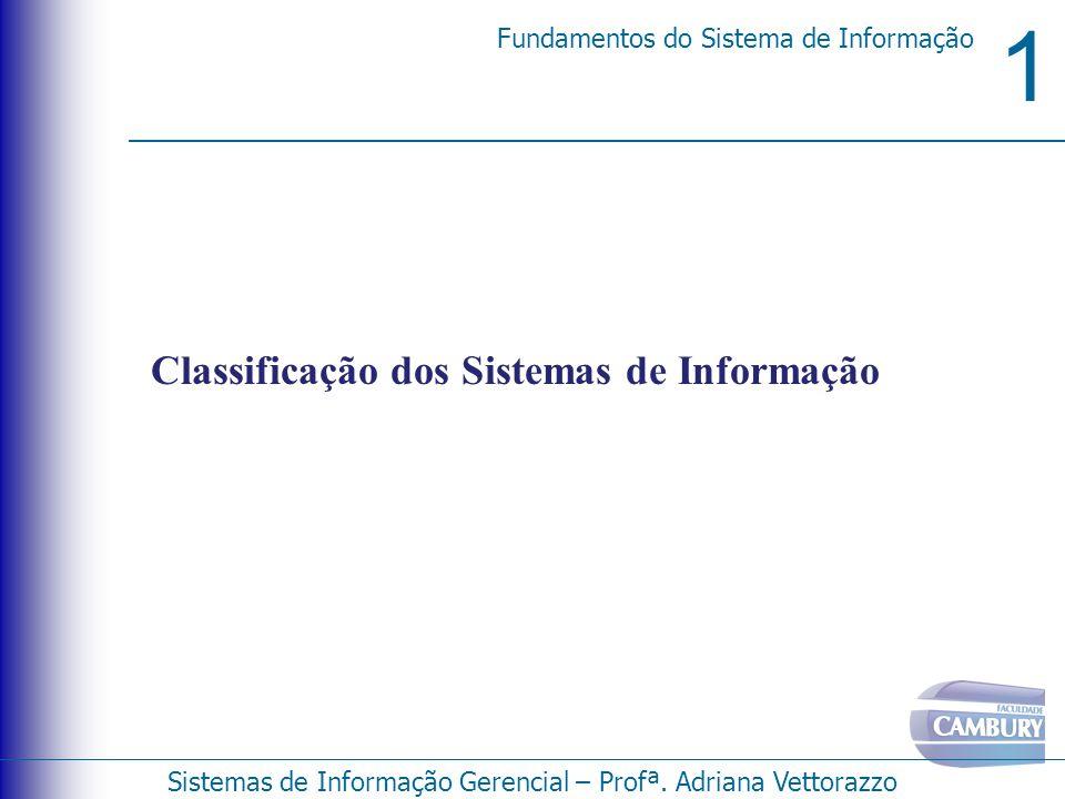 1 Fundamentos do Sistema de Informação Sistemas de Informação Gerencial – Profª. Adriana Vettorazzo Classificação dos Sistemas de Informação