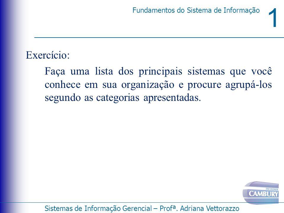 1 Fundamentos do Sistema de Informação Sistemas de Informação Gerencial – Profª. Adriana Vettorazzo Exercício: Faça uma lista dos principais sistemas