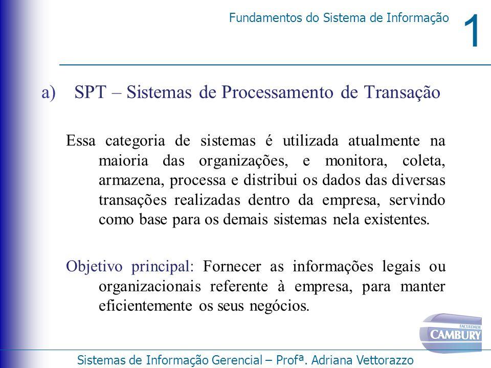 1 Fundamentos do Sistema de Informação Sistemas de Informação Gerencial – Profª. Adriana Vettorazzo a)SPT – Sistemas de Processamento de Transação Ess