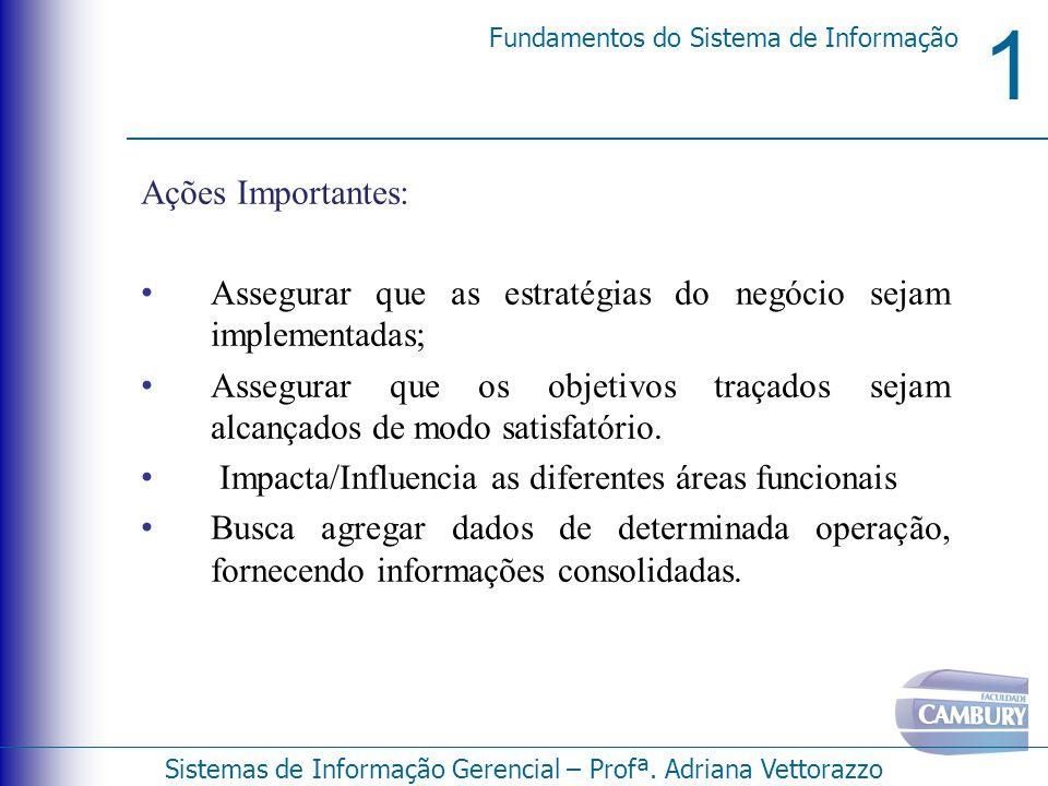 1 Fundamentos do Sistema de Informação Sistemas de Informação Gerencial – Profª. Adriana Vettorazzo Ações Importantes: Assegurar que as estratégias do