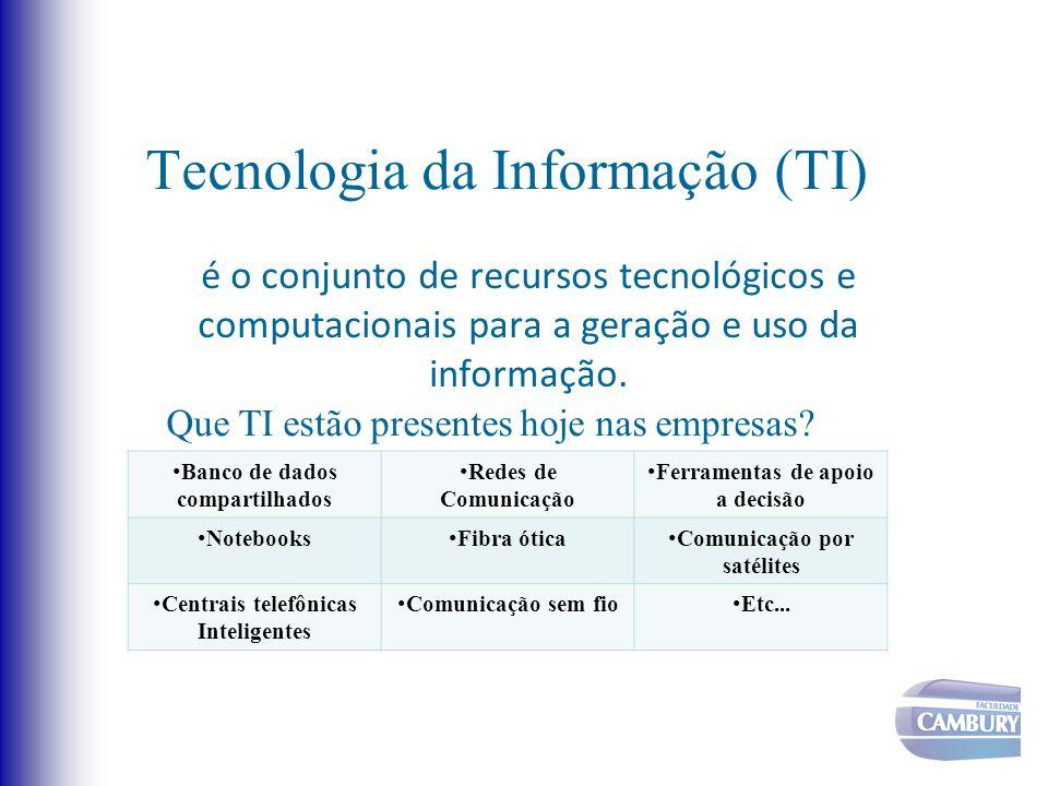 Tecnologia da Informação (TI) é o conjunto de recursos tecnológicos e computacionais para a geração e uso da informação. Que TI estão presentes hoje n