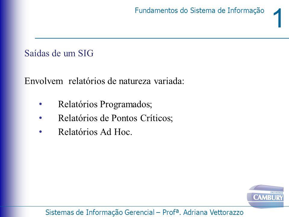 1 Fundamentos do Sistema de Informação Sistemas de Informação Gerencial – Profª. Adriana Vettorazzo Saídas de um SIG Envolvem relatórios de natureza v