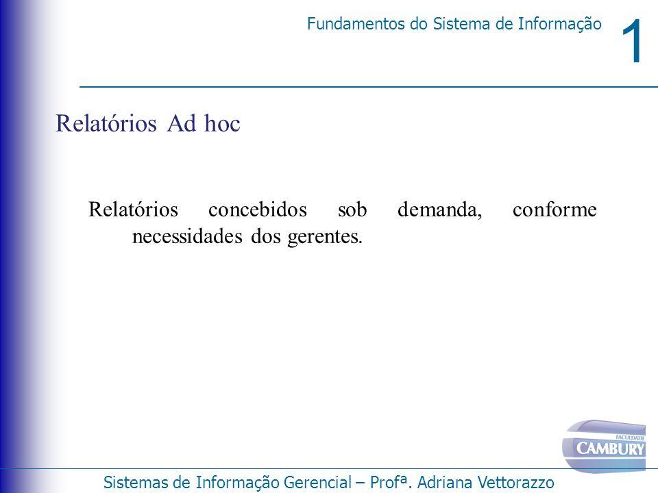 1 Fundamentos do Sistema de Informação Sistemas de Informação Gerencial – Profª. Adriana Vettorazzo Relatórios Ad hoc Relatórios concebidos sob demand