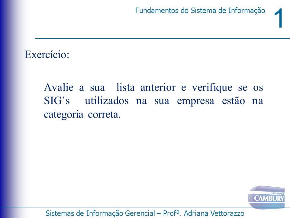 1 Fundamentos do Sistema de Informação Sistemas de Informação Gerencial – Profª. Adriana Vettorazzo Exercício: Avalie a sua lista anterior e verifique