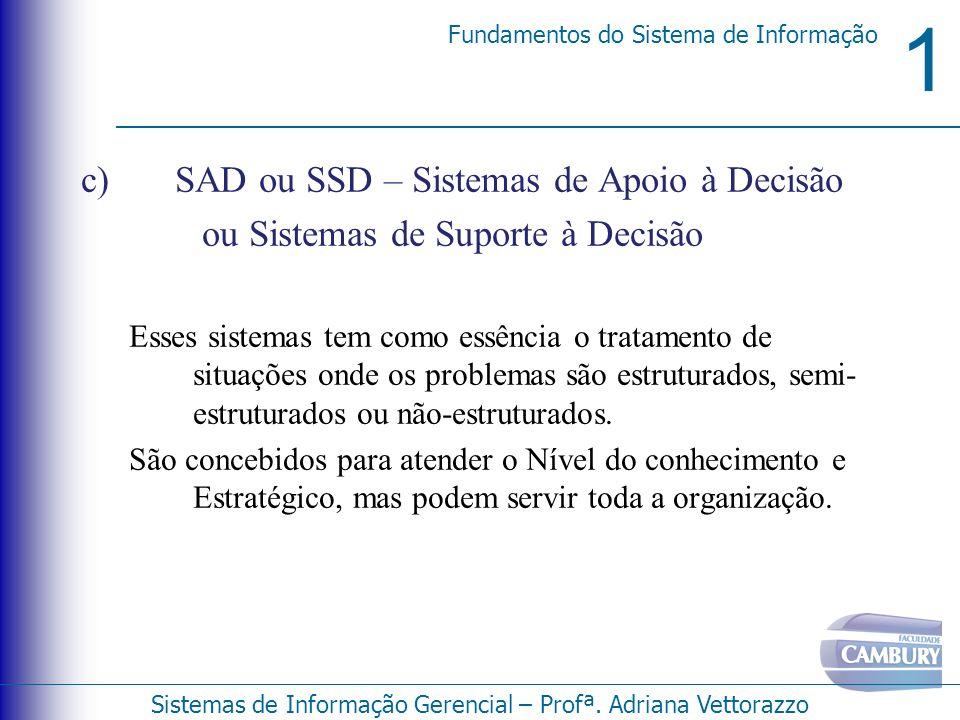 1 Fundamentos do Sistema de Informação Sistemas de Informação Gerencial – Profª. Adriana Vettorazzo c) SAD ou SSD – Sistemas de Apoio à Decisão ou Sis