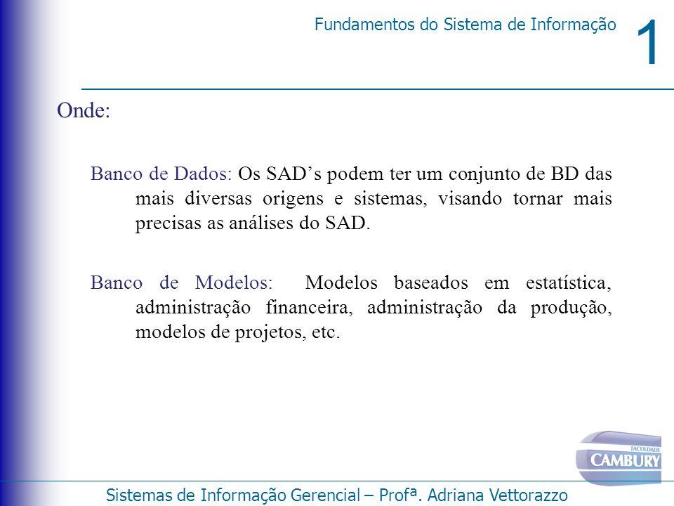1 Fundamentos do Sistema de Informação Sistemas de Informação Gerencial – Profª. Adriana Vettorazzo Onde: Banco de Dados: Os SADs podem ter um conjunt