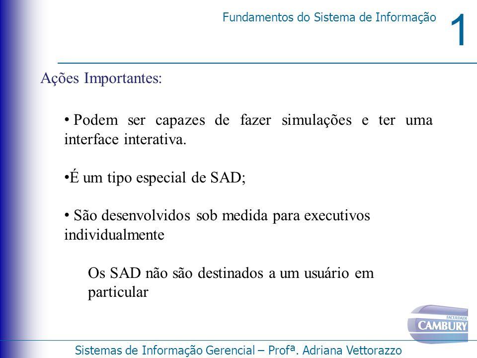 1 Fundamentos do Sistema de Informação Sistemas de Informação Gerencial – Profª. Adriana Vettorazzo Ações Importantes: Podem ser capazes de fazer simu