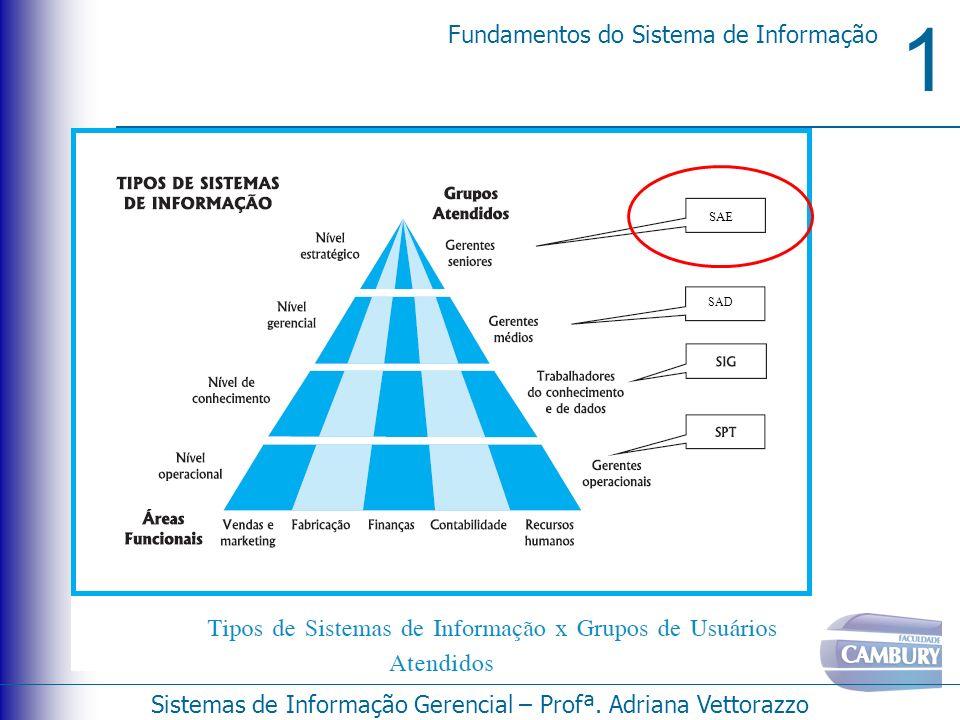 1 Fundamentos do Sistema de Informação Sistemas de Informação Gerencial – Profª. Adriana Vettorazzo SAD SAE