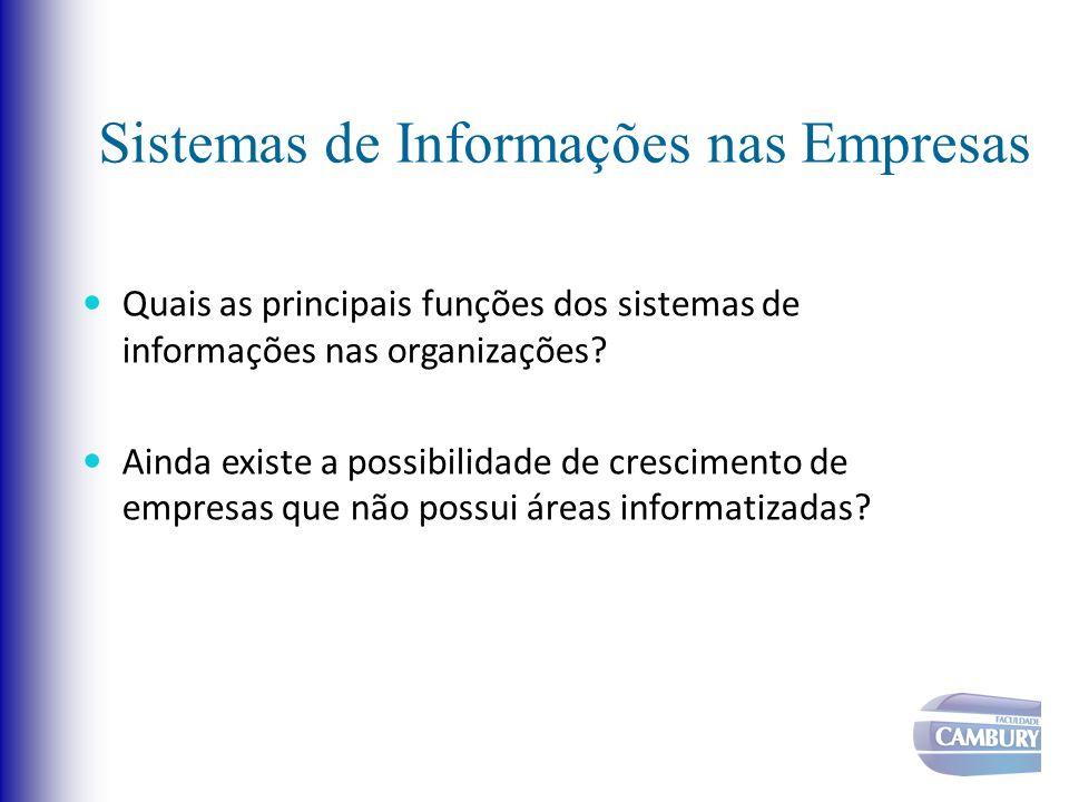 Sistemas de Informações nas Empresas Quais as principais funções dos sistemas de informações nas organizações? Ainda existe a possibilidade de crescim