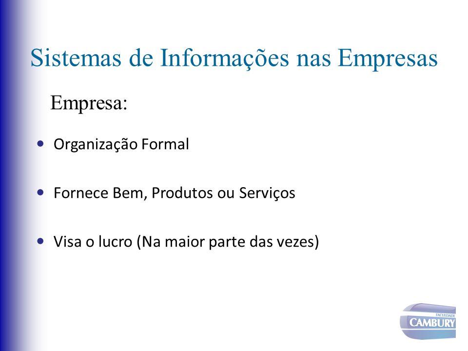 Sistemas de Informações nas Empresas Organização Formal Fornece Bem, Produtos ou Serviços Visa o lucro (Na maior parte das vezes) Empresa: