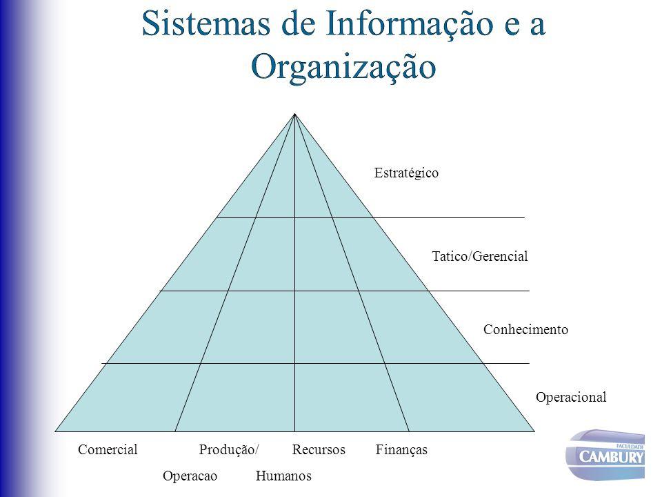 Comercial Produção/ Recursos Finanças Operacao Humanos Operacional Conhecimento Tatico/Gerencial Estratégico