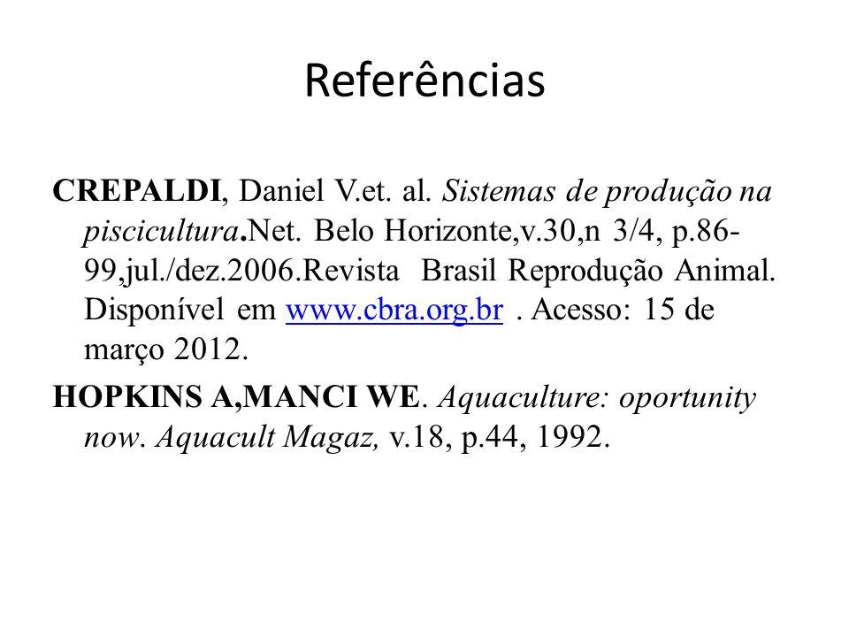 Referências CREPALDI, Daniel V.et.al. Sistemas de produção na piscicultura.Net.