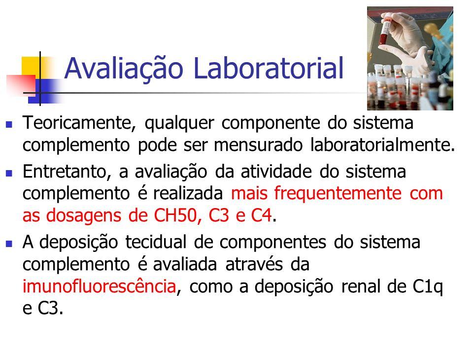 Avaliação Laboratorial Teoricamente, qualquer componente do sistema complemento pode ser mensurado laboratorialmente. Entretanto, a avaliação da ativi
