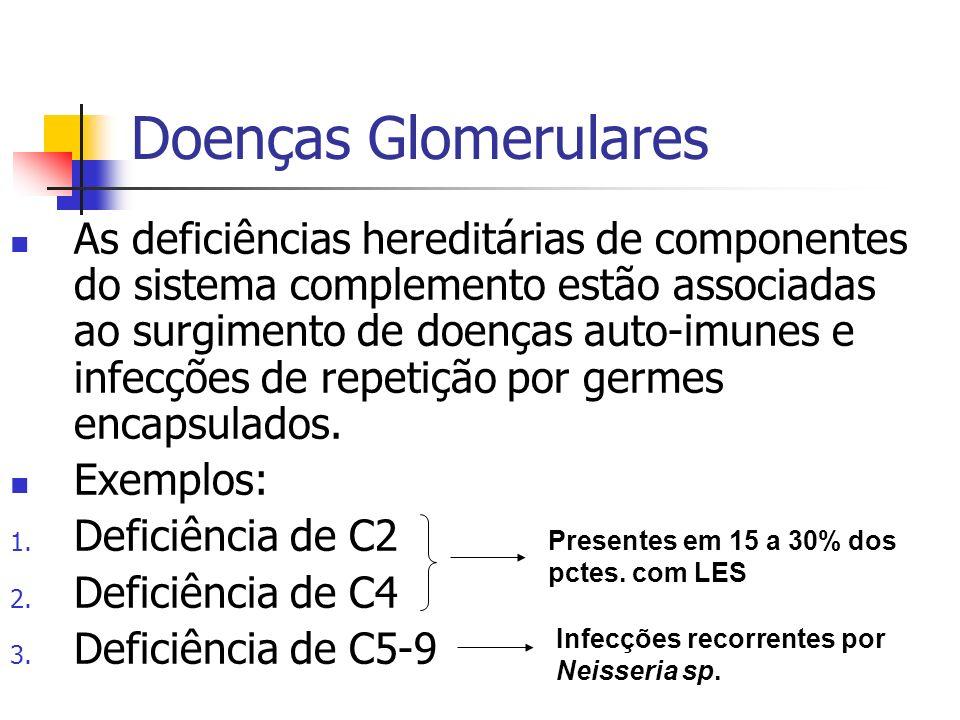 Doenças Glomerulares A presença de fatores circulantes promove a ativação do sistema complemento através da VIA ALTERNADA, independentemente da presença de imune-complexos circulantes.