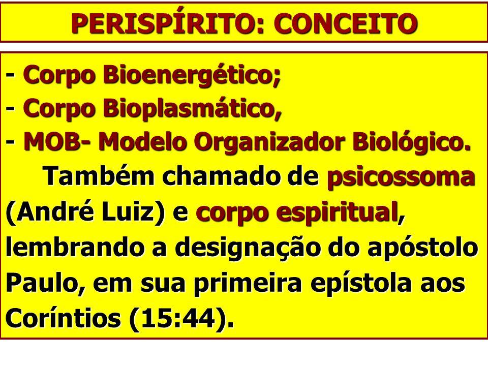 PERISPÍRITO: CONCEITO - Corpo Bioenergético; - Corpo Bioplasmático, - MOB- Modelo Organizador Biológico. Também chamado de psicossoma (André Luiz) e c