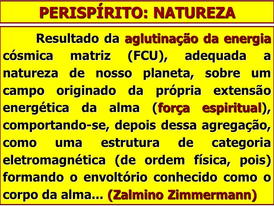 PERISPÍRITO: NATUREZA Resultado da aglutinação da energia cósmica matriz (FCU), adequada a natureza de nosso planeta, sobre um campo originado da próp
