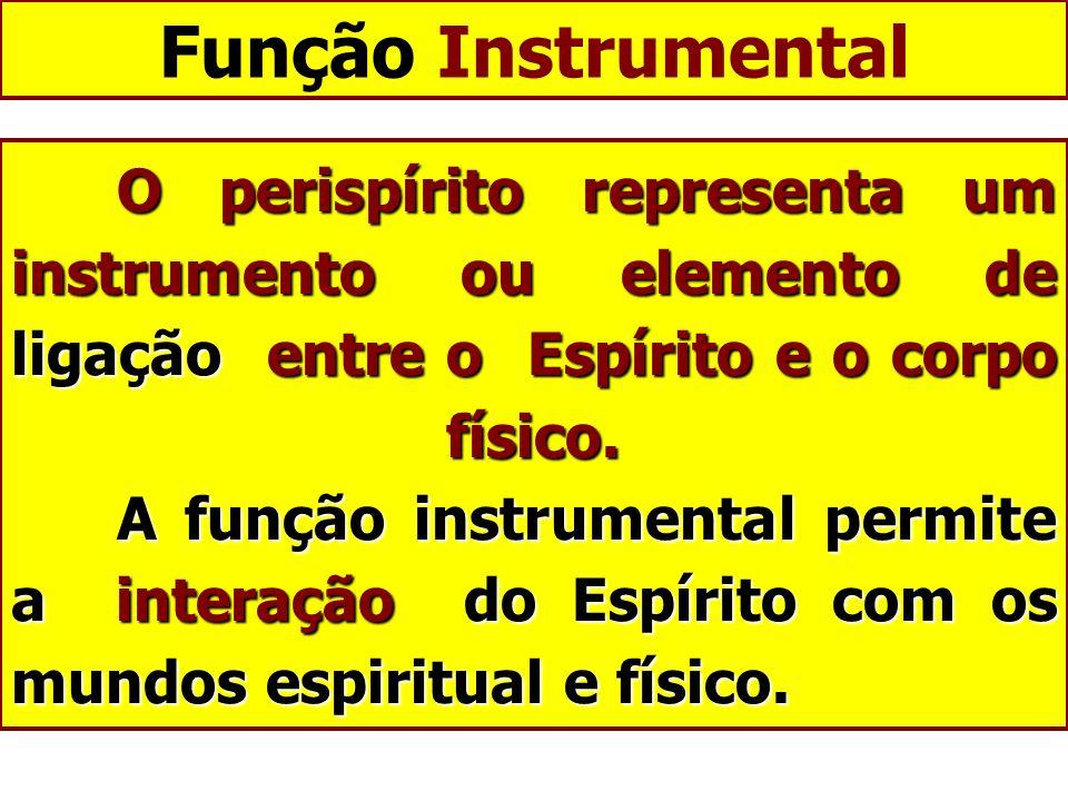 Função Instrumental O perispírito representa um instrumento ou elemento de ligação entre o Espírito e o corpo físico. A função instrumental permite a
