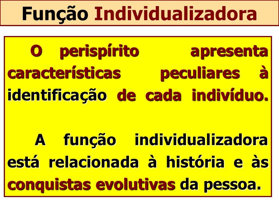 Função Individualizadora O perispírito apresenta características peculiares à identificação de cada indivíduo. A função individualizadora está relacio