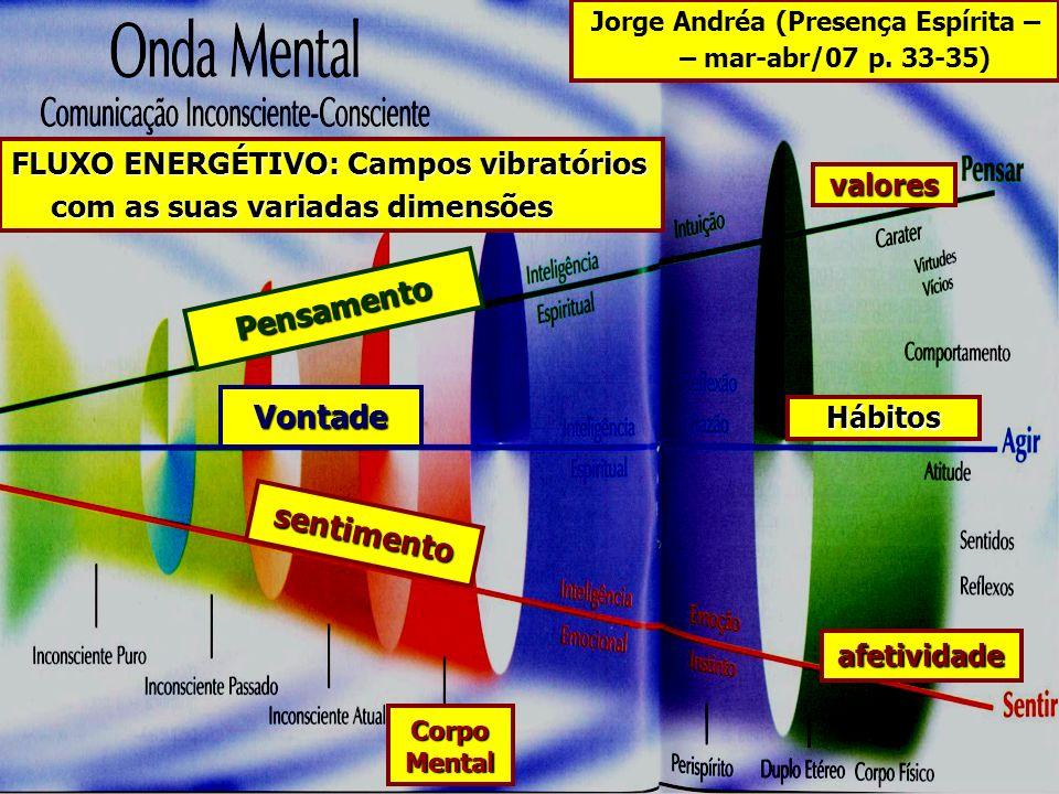 Jorge Andréa (Presença Espírita – – mar-abr/07 p. 33-35) afetividade Hábitos valores FLUXO ENERGÉTIVO: Campos vibratórios com as suas variadas dimensõ