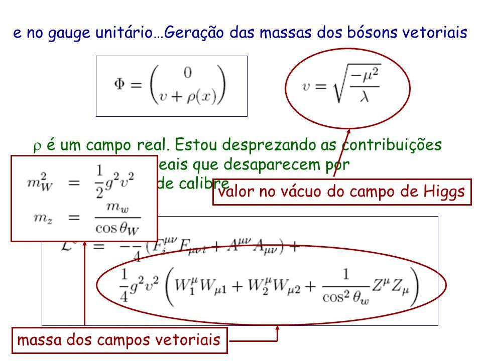 e no gauge unitário…Geração das massas dos bósons vetoriais é um campo real. Estou desprezando as contribuições de três campos reais que desaparecem p