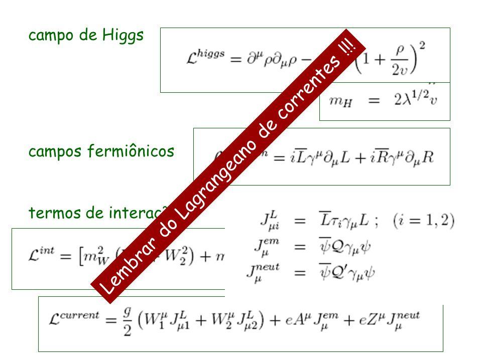 campo de Higgs campos fermiônicos termos de interação Lembrar do Lagrangeano de correntes !!!