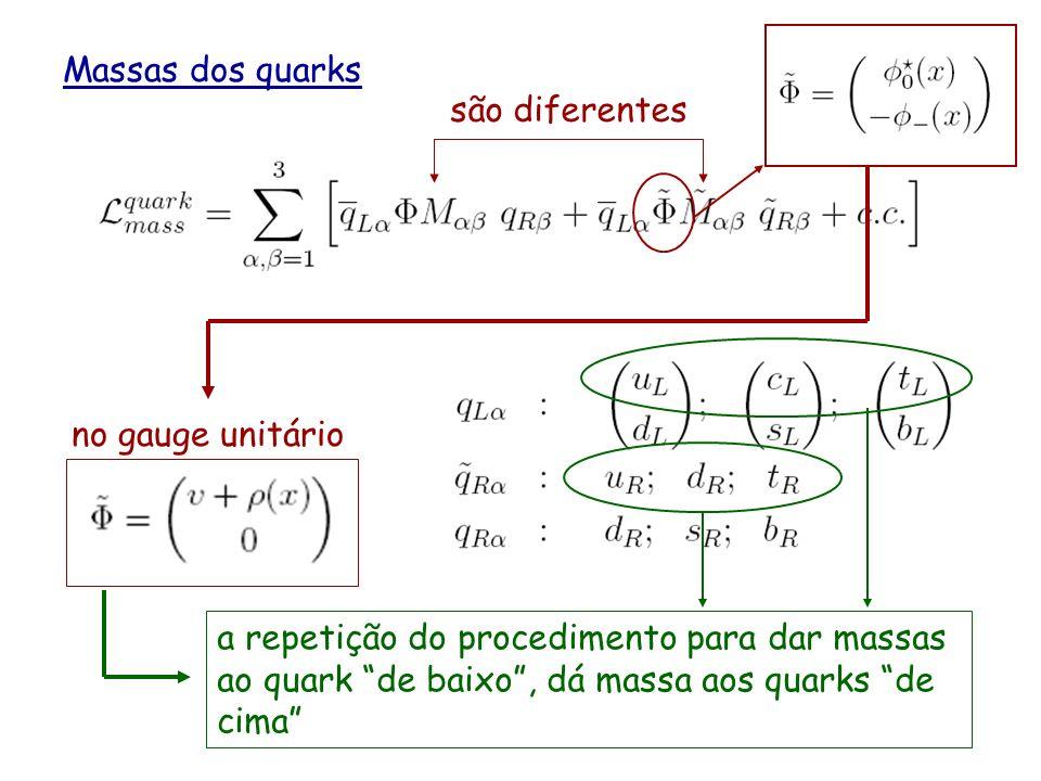Massas dos quarks o 1 ero termo tem a mesma forma que o termo de massa para os leptons a repetição do procedimento para dar massa aos leptons, dá mass