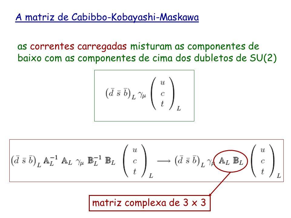 A matriz de Cabibbo-Kobayashi-Maskawa as correntes carregadas misturam as componentes de baixo com as componentes de cima dos dubletos de SU(2) matriz