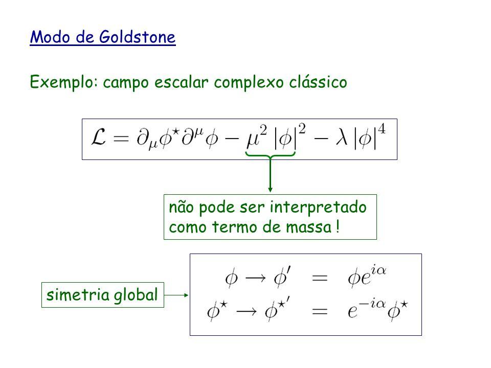 Modo de Goldstone Exemplo: campo escalar complexo clássico não pode ser interpretado como termo de massa ! simetria global