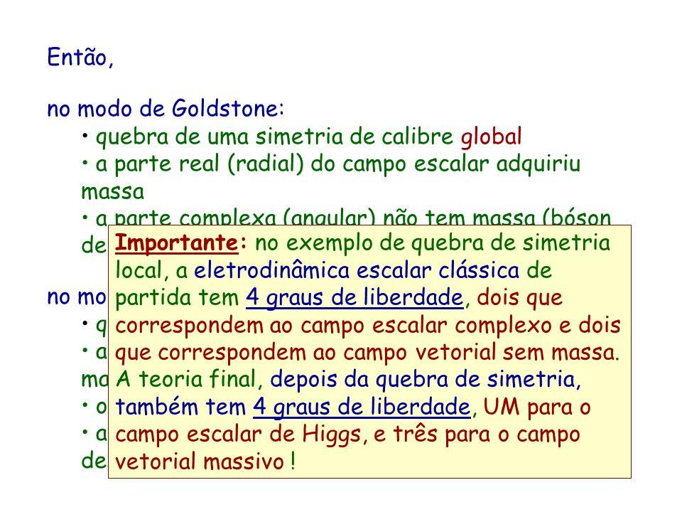Então, no modo de Goldstone: quebra de uma simetria de calibre global a parte real (radial) do campo escalar adquiriu massa a parte complexa (angular)