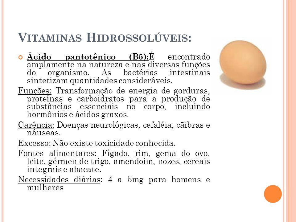 V ITAMINAS H IDROSSOLÚVEIS : Ácido pantotênico (B5): É encontrado amplamente na natureza e nas diversas funções do organismo. As bactérias intestinais