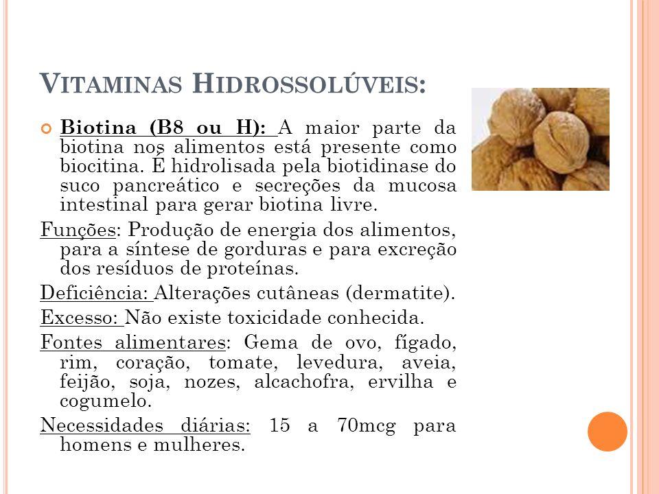 V ITAMINAS H IDROSSOLÚVEIS : Biotina (B8 ou H): A maior parte da biotina nos alimentos está presente como biocitina. É hidrolisada pela biotidinase do