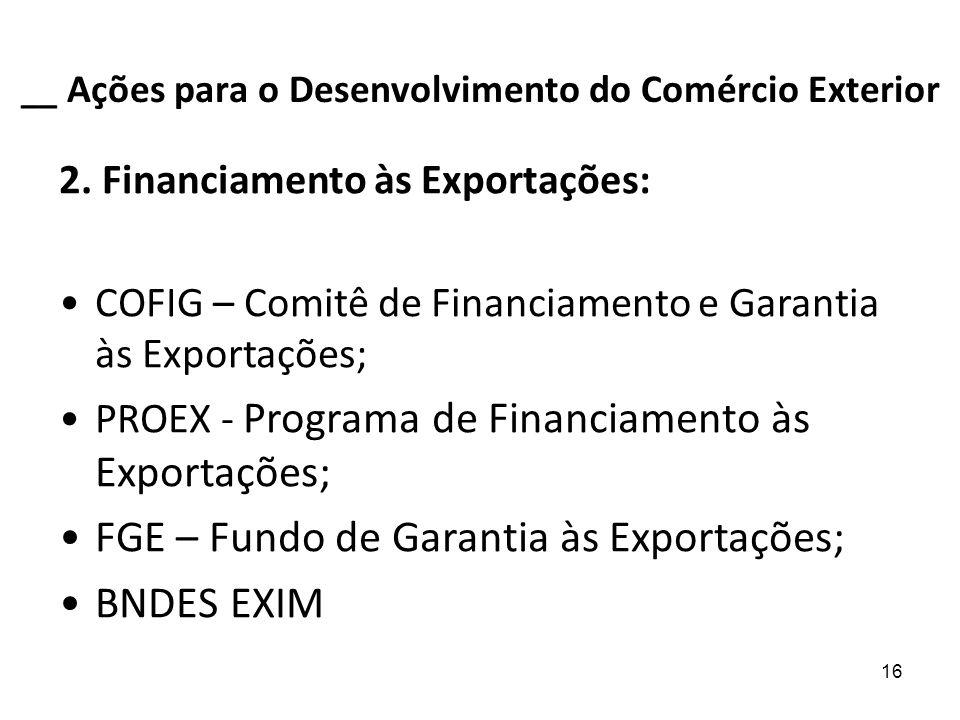 16 __ Ações para o Desenvolvimento do Comércio Exterior 2. Financiamento às Exportações: COFIG – Comitê de Financiamento e Garantia às Exportações; PR