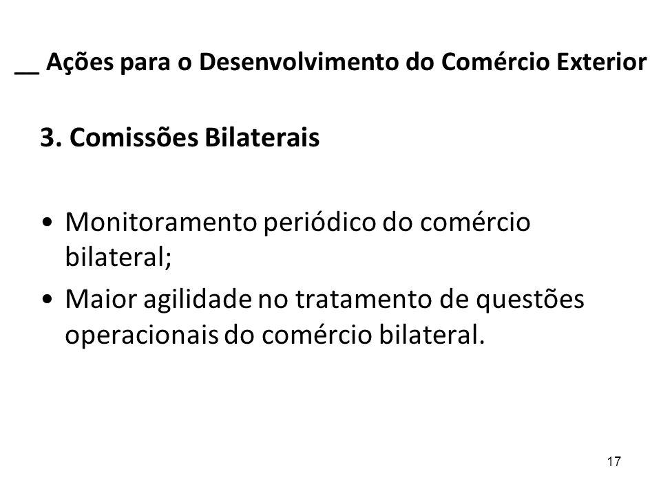 17 __ Ações para o Desenvolvimento do Comércio Exterior 3. Comissões Bilaterais Monitoramento periódico do comércio bilateral; Maior agilidade no trat