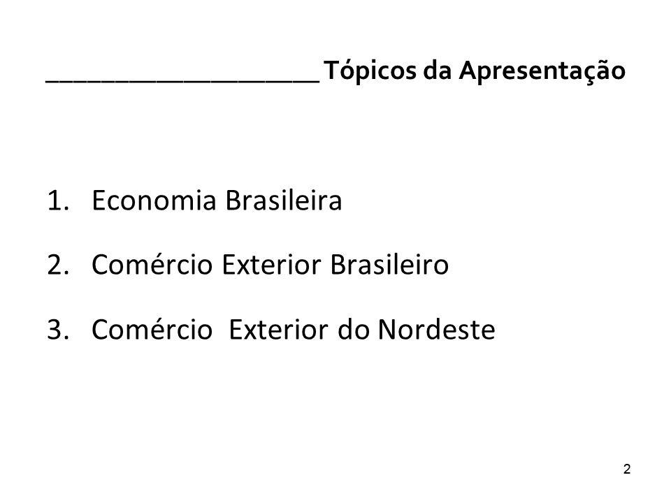 22 ____________________ Tópicos da Apresentação 1.Economia Brasileira 2.Comércio Exterior Brasileiro 3.Comércio Exterior do Nordeste